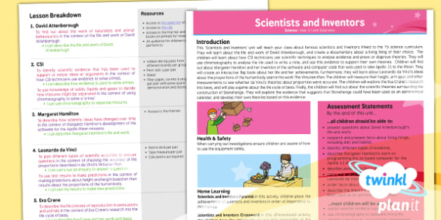Science: Scientists and Inventors Year 5 Planning Overview