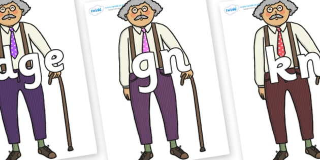 Silent Letters on Little Old Man - Silent Letters, silent letter, letter blend, consonant, consonants, digraph, trigraph, A-Z letters, literacy, alphabet, letters, alternative sounds