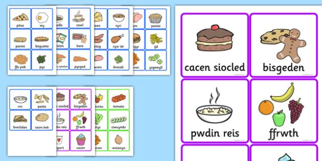 Cardiau Fflach Bwyd - food, cards, translation, welsh