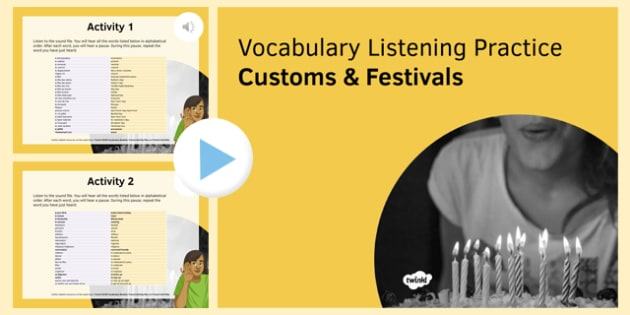 Customs & Festivals Vocabulary Listening Practice PowerPoint-French