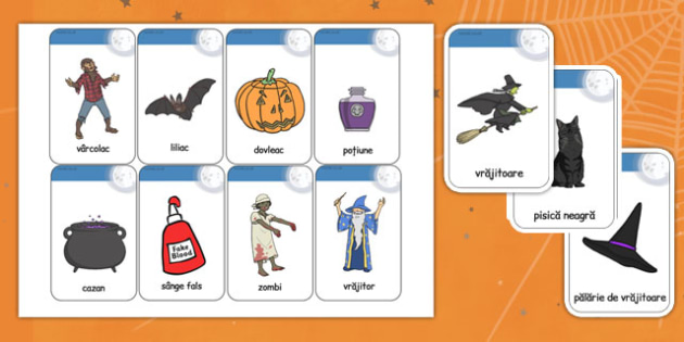 Halloween - Cartonașe cu imagini și cuvinte - Halloween, cartonașe, imagini, cuvinte, joc, flashcards, jetoane, de afișat, joc, dezvoltarea vorbirii, romanian, materiale, materiale didactice, română, romana, material, material didactic
