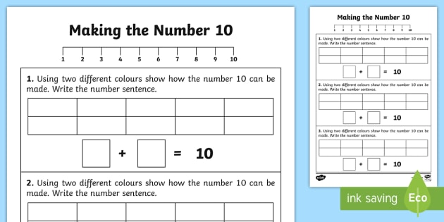 Ways of Making 10 Worksheet / Activity Sheet - worksheet, number