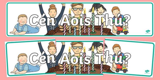 Cén Aois Thú? Display Banner - Irish