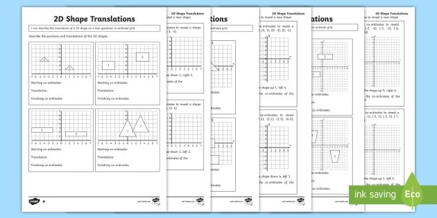 new four quadrant 2d shape translations differentiated worksheets. Black Bedroom Furniture Sets. Home Design Ideas