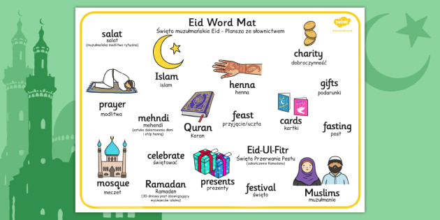 Eid Word Mat Polish Translation - polish, eid, word mat, word, mat, religion