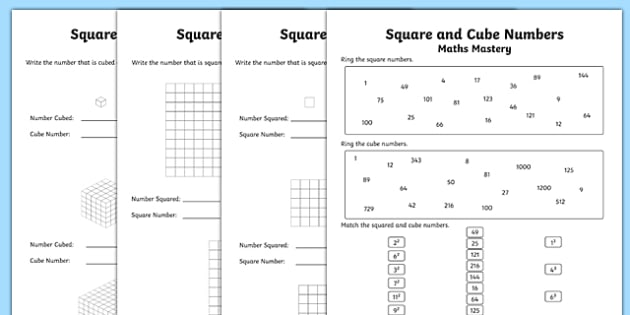 year  multiplication and division square and cube numbers maths mastery year  multiplication and division square and cube numbers maths mastery  worksheet  worksheet pack