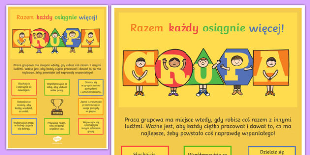 TEAM Large Motivational Poster KS2 Polish Polish