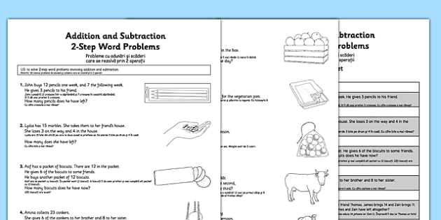 Addition and Subtraction Word Problems Worksheet / Activity Sheet Year 2 Romanian Translation - romanian, Maths, addition, subtraction, word problems, 2-step, Year 2, worksheet
