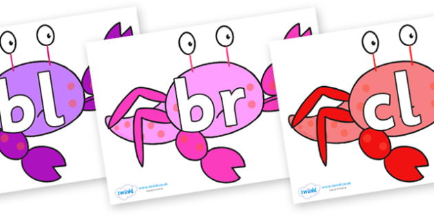 Initial Letter Blends on Crab to Support Teaching on Sharing a Shell - Initial Letters, initial letter, letter blend, letter blends, consonant, consonants, digraph, trigraph, literacy, alphabet, letters, foundation stage literacy