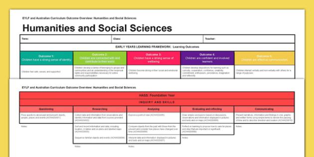 EYLF and Australian Curriculum Outcome Overview HASS - EYLF, Australian Curriculum, Planning, HASS, Foundation