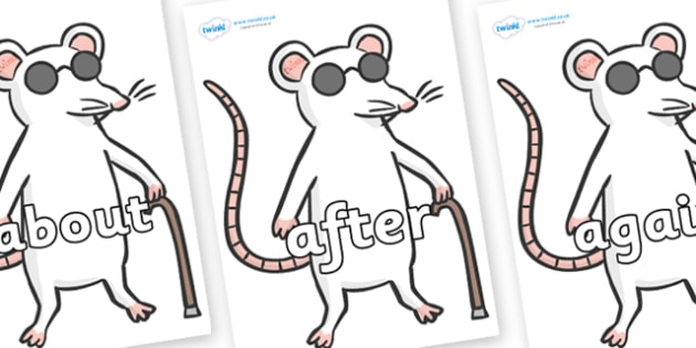 KS1 Keywords on Blind Mice - KS1, CLL, Communication language and literacy, Display, Key words, high frequency words, foundation stage literacy, DfES Letters and Sounds, Letters and Sounds, spelling