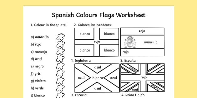 Spanish Colouring Flags Worksheet - worksheets, flag, colour