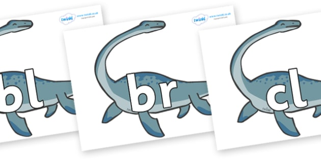 Initial Letter Blends on Plesiosaur - Initial Letters, initial letter, letter blend, letter blends, consonant, consonants, digraph, trigraph, literacy, alphabet, letters, foundation stage literacy