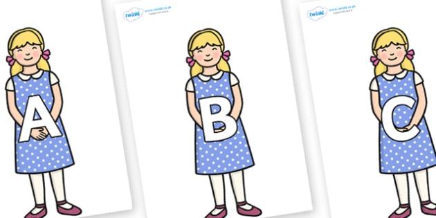 A-Z Alphabet on Goldilocks - A-Z, A4, display, Alphabet frieze, Display letters, Letter posters, A-Z letters, Alphabet flashcards
