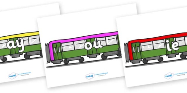Phase 5 Phonemes on Trains - Phonemes, phoneme, Phase 5, Phase five, Foundation, Literacy, Letters and Sounds, DfES, display