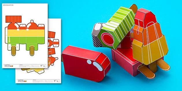 Enkl 3D Ice Lolly Printables - enkl, 3d, ice lolly, printables, summer, paper craft, paper, craft, model
