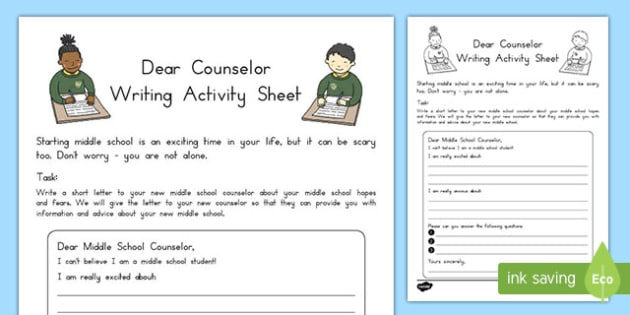 Dear Counselor Letter Writing Activity Sheet , worksheet