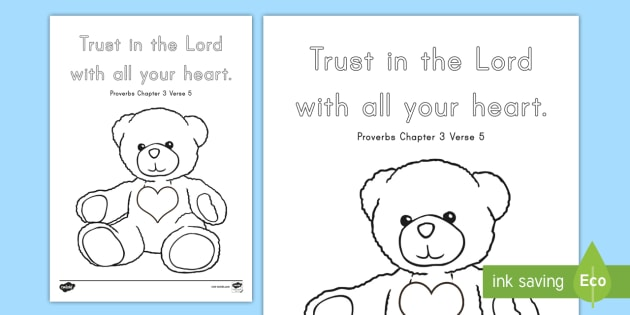 Proverbs 3:5 Coloring Page - Bible, Memory Verse, Christian