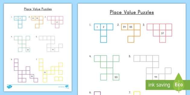place value puzzles teacher made. Black Bedroom Furniture Sets. Home Design Ideas