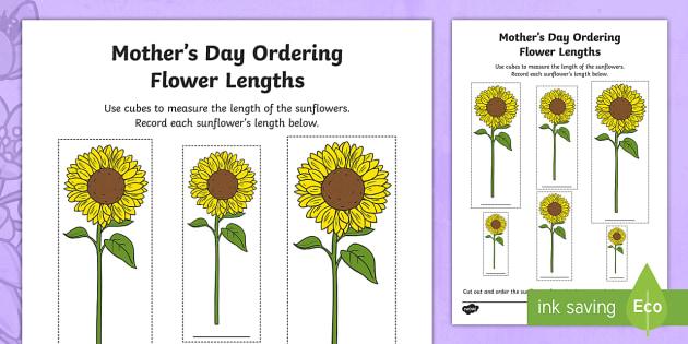 mother 39 s day ordering flower lengths worksheet activity sheet. Black Bedroom Furniture Sets. Home Design Ideas