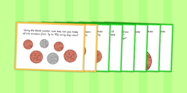 Coin Number Line Challenge Pack - maths, numeracy, number, money, counting, adding, subtracting, change, shopping, calculate, ks1, ks2, key stage 1, key stage 2,