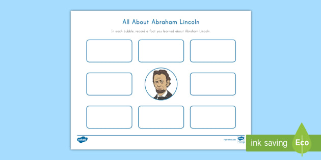 new abraham lincoln bubble map activity sheet. Black Bedroom Furniture Sets. Home Design Ideas