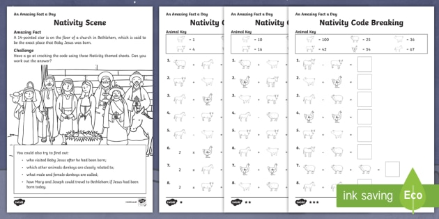 Nativity Code Breaking Activity Sheets - Amazing Fact Of The Day, activity sheets, PowerPoint, starter, morning activity, December, Christmas