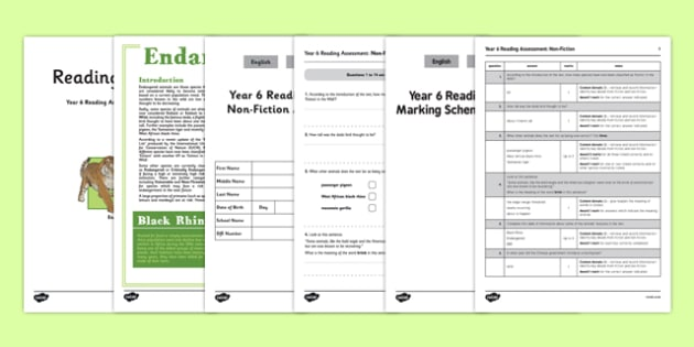 Year 6 Reading Assessment Non-Fiction Term 2 - year 6, reading, assessment, term 2, non-fiction