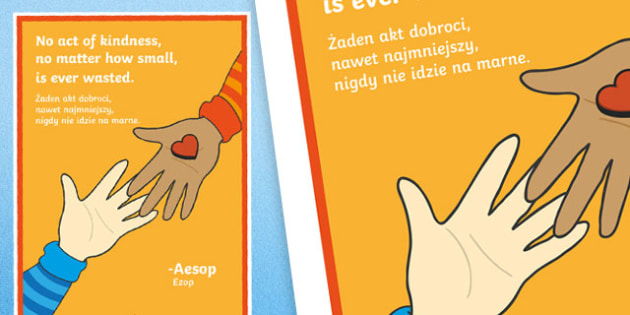 No Act of Kindness Motivational Poster Polish Translation - polish, motivational, poster