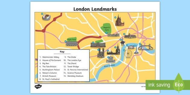 Map Of Landmarks In London.London Landmarks Map