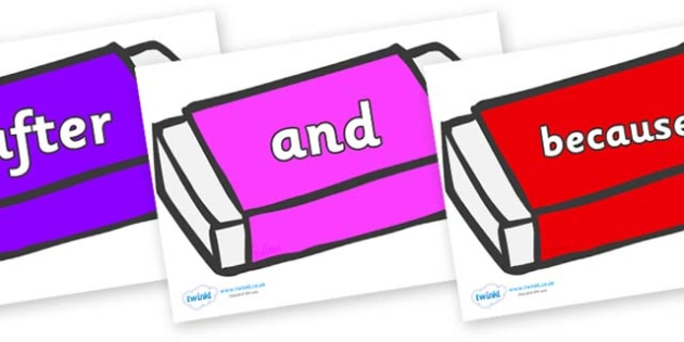 Connectives on Erasers - Connectives, VCOP, connective resources, connectives display words, connective displays