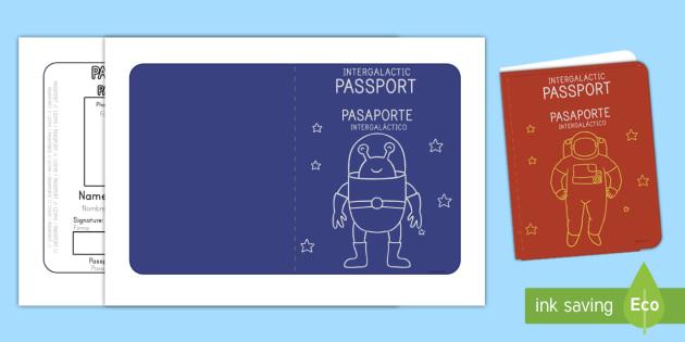 Space Passport Templates English/Spanish - Passport, space