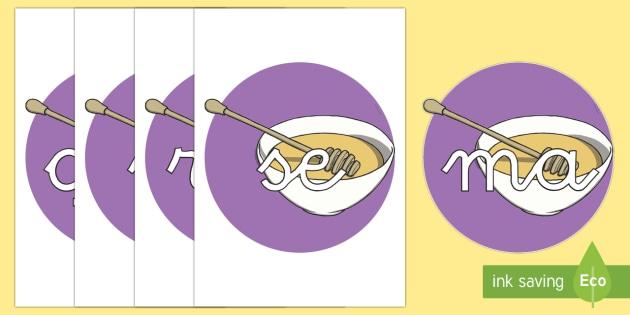 Tarjetas de sílabas: Miel - lecto, leer, primeros sonidos