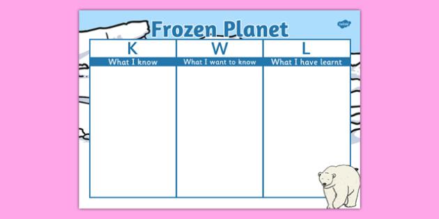 Frozen Planet Topic KWL Grid - frozen planet, topic, kwl grid, kwl, grid, frozen, planet, arctic, polar