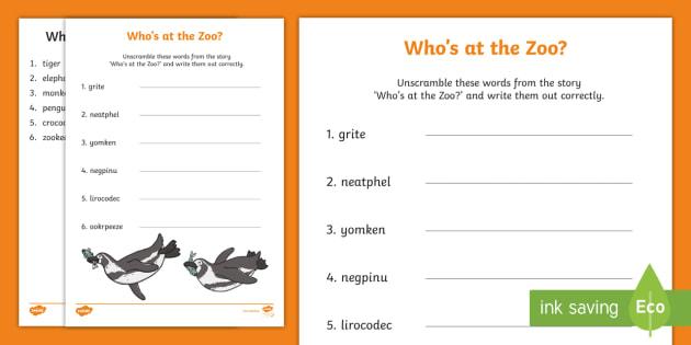 Who's at the Zoo? Word Scramble Worksheet / Worksheet