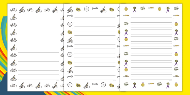Rio 2016 Olympics Mountain Biking Page Borders - rio olympics, 2016 olympics, rio 2016, mountain biking, page borders