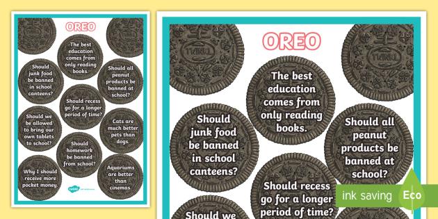 OREO Persuasive Writing Topics Display Poster Persuade