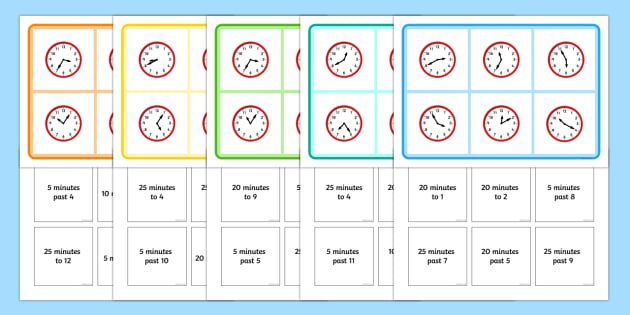 Mixed Time Bingo 5 Minutes - mixed, time, bingo, activity, 5 minutes, minutes, times, clock, hour, game