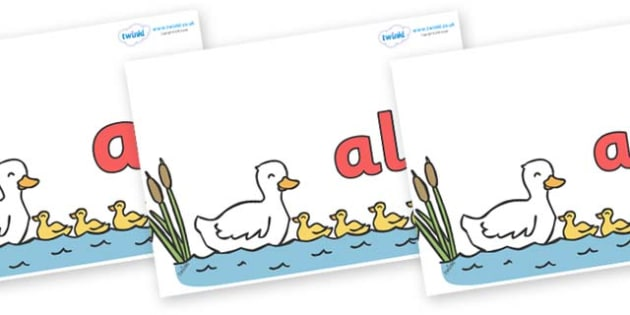 Foundation Stage 2 Keywords on Five Little Ducks - FS2, CLL, keywords, Communication language and literacy,  Display, Key words, high frequency words, foundation stage literacy, DfES Letters and Sounds, Letters and Sounds, spelling