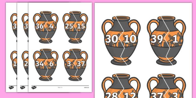 Number Bonds to 40 on Ancient Vases - number bonds, number bonds on vases, number bonds to 40, ancient vase number bonds, ks2 maths, ks2 history, counting