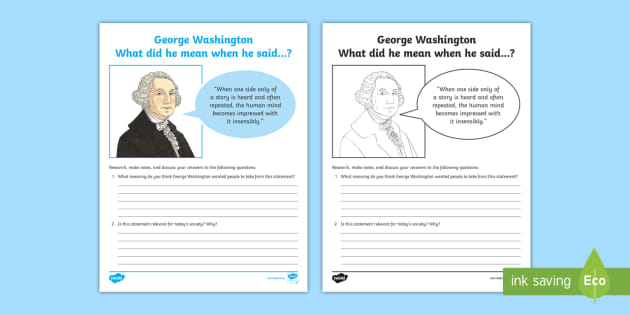 George Washington: What Did He Mean? Research and Discussion Worksheet -  George Washington Worksheet - American Presidents, American History, Social Studies