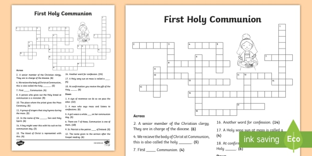 First Holy Communion Crossword Confession First Communion