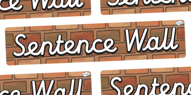 Sentence Wall Display Banner (Cursive) - Word Wall, words, keywords, banner, poster, wow words, VCOP, adjectives, nouns, display words