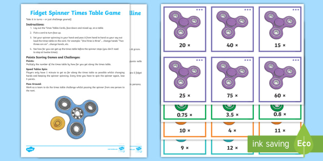 Fid Spinner Times Tables Challenge Game English Italian