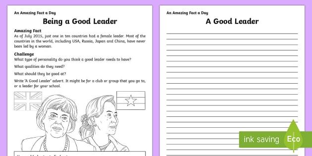 Being a Good Leader Activity Sheet