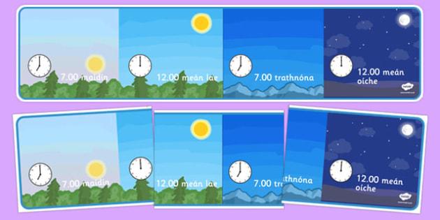 Day and Night Time Display Irish - irish, gaeilge, day, night, display, class display