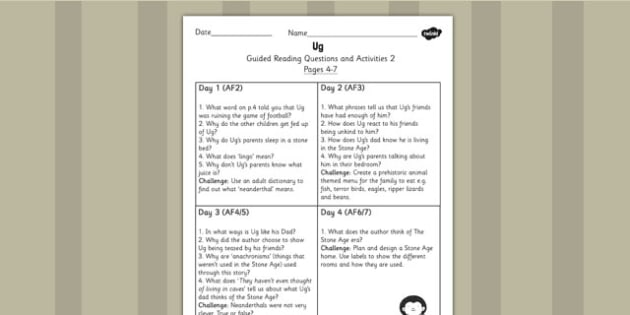 Guided Reading Questions Pages 4-7 to Support Teaching on Ug - ug, guided reading
