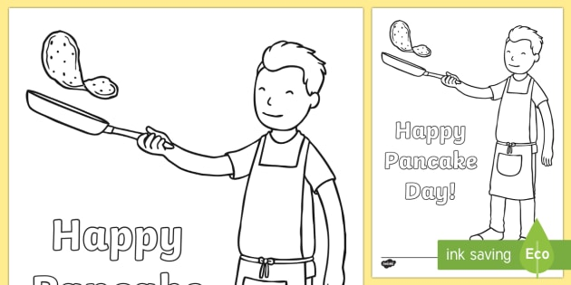 Happy Pancake Day Colouring Page  Requests KS1 colouring