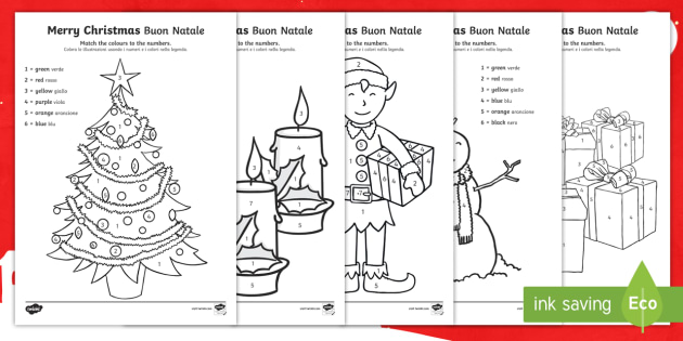 Merry Christmas Colour By Number English Italian Colouring Number