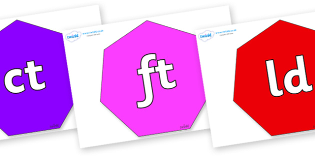 Final Letter Blends on Heptagons - Final Letters, final letter, letter blend, letter blends, consonant, consonants, digraph, trigraph, literacy, alphabet, letters, foundation stage literacy